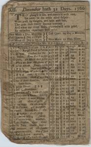 Back cover of 1766 almanac, with notations in the margins.